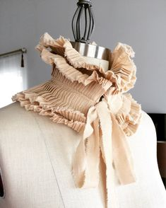 Beige Neck ruff/Hand made collar/Pleated Collar/Detachable Ruffle Collar/Ruffle/Ruffle collar/ Ruffled Fashion/Bohemian collar/ rusteam Ruff Collar, Multiple Outfits, Mode Boho, Fashion Details, Fashion Design, Neck Piece, Fabric Manipulation, Types Of Collars, Apparel Design