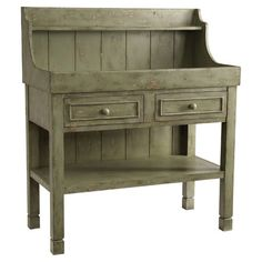 Bar Console. - An eye-catching addition to your dining room or den, this weathered sage-hued bar console showcases 2 drawers and an open display shelf.  ...
