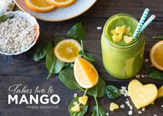 Mango spinach smoothie...always add a protein to your smoothies! Great options are non-soy vegan protein powder, organic silken tofu or greek yogurt