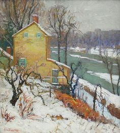 """""""Winter Gold,"""" Fern Isabel Coppedge, ca. 1925,oOil on canvas, 20 x 18"""", Avery Galleries."""