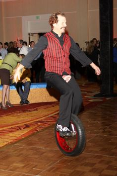 Riding a unicycle in a hotel ballroom...no big deal