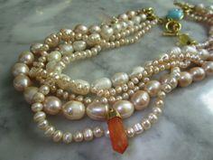 Perlenketten - TOM Collier Chunky Set Kette Perle Edelsteine Biwa - ein Designerstück von TOMKJustbe bei DaWanda