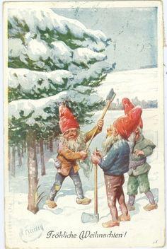 Weihnachten, Zwerge fällen Christbaum, sign. Feiertag, 1914