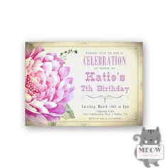 Vintage Style 7th Birthday Invitations for Girls / Lavender
