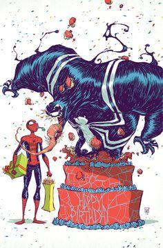 Spider Man and Venom birthday by skottieyoung