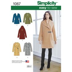 Simplicity 1067 -misses' easy to sew unlined coat or jacket with collar, hood and button or tie closure options.