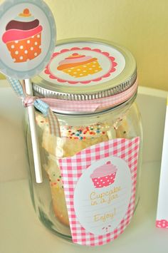 great idea for a baby shower favor. I would just change the cupcake to a banana muffin and the printables to monkeys for our monkey themed baby shower.
