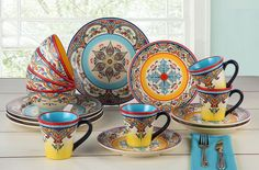 Commercial 16-Piece Dinnerware Set Collectible Ethnic Art Banquet Stoneware Sets…
