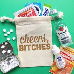 This listing is for ONE cheers bitches bag with lettering in glitter vinyl. + This can be used for bachelor/bachelorette parties, destination wedding favors, and personal use. =========== ---> Choose from 3 bag sizes (4x6 pictured). ---> You can order exactly as many as you need.