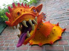felted dragon head by Mobifilz