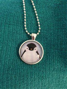 Adorable Silver dome penguin necklace