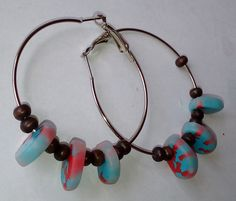 """#OHRRINGE """"MOSAIK CORALLEN"""" – CREOLEN --- #Earrings – #Creoles with #blue, #red, lucident clear and #ebony beads --- #Pendientes – #Criollos con cuentas azules, rojas, lucidas claras y de ébano Jewelry Shop, Beaded Necklace, Earrings, Gifts, Boards, Gallery, Blue Nails, Beads, Red"""