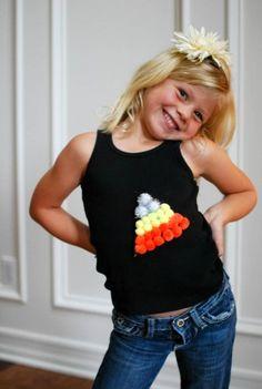 5 Minute Candy Corn pom pom shirt #tutorial