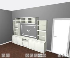 Learn how to add beautiful baseboards and crown moulding to the IKEA BESTA system to give it a more custom, built-in look! Living Room Built Ins, Condo Living Room, Ikea Living Room, Living Room Shelves, Dining Rooms, Ikea Built In, Tv Built In, Built In Shelves, Ikea Hack Bedroom