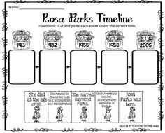 Rosa Parks Timeline Cut and Paste FREEBIE!I am pleased to offer this cut and paste activity to you for FREE!This would be great review after your study about Rosa Parks and Black History Month.  You can use this for centers, seat work, or early finishers.You might be interest in:PRESIDENTS DAY MATH AND LITERACY PRINTABLESPRESIDENTS DAY CENTER (ADJECTIVE OR VERB?)PRESIDENTS DAY NOUNS CENTER