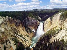 The Lower Falls and the South Canyon Rim at Grand Canyon of the Yellowstone River in Yellowstone National Park