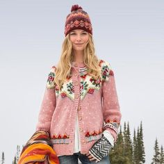 """IRISH ROSE CARDIGAN - As pretty as a country garden, this sweetly feminine, Fair Isle cardigan features wooden buttons and an easy, slouchy fit. Wool/acrylic/nylon. Hand wash. Imported. Exclusive. Sizes XS (2), S (4 to 6), M (8 to 10), L (12 to 14), XL (16). Approx. 25""""L."""