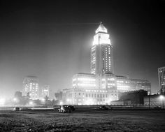 Los Angeles City Hall at night (ca. 1951), via the USC Libraries