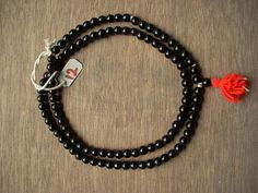 Black Agate Mala Crystal Japa Mala Precious Stone for Sani 108+1