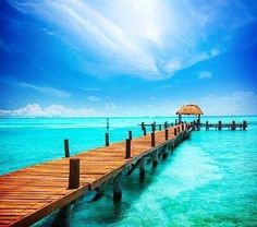 Vacation In Tropic Paradise. Jetty On Isla Mujeres, Mexico Paradise Bedroom Decor Summer Pictures, Beach Pictures, Natur Wallpaper, Adhesive Wallpaper, Images Murales, Romantic Escapes, Cancun Mexico, Mexico City, Photo Wallpaper