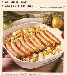 sausage and savory cabbage casserole dishes vintage recipe card birds eye frozen foods
