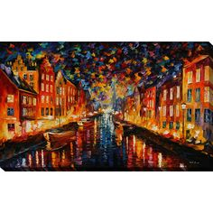 "PicturePerfectInternational ""Night Copenhagen"" by Leonid Afremov Painting Print on Wrapped Canvas Size: 28"" H x 48"" W x 1.5"" D"