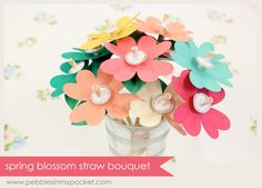 Spring Blossom Straw Bouquet created by Pebbles in my Pocket