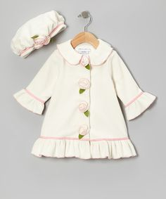 Take a look at this Ivory Frosted Cake Swing Coat & Mushroom Hat - Infant, Toddler & Girls on zulily today!