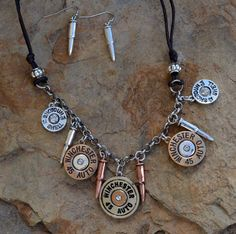 "Cowgirl Bling 16"" Necklace Set AMMO SHOTGUN SHELL BULLETS GYPSY BOHO #Unbranded"