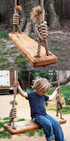 Here's a great way to recycle: re-purpose a pine floor joist from a house as the perfect swing for your yard. Handmade in Pennsylvania, the tree swing encourages kids and the young at hear. Find the Repurposed Tree Swing, as seen in the Val Outdoor Projects, Wood Projects, Outdoor Play, Outdoor Living, Outdoor Swings, Ways To Recycle, Pine Floors, Farmhouse Chic, Farmhouse Ideas
