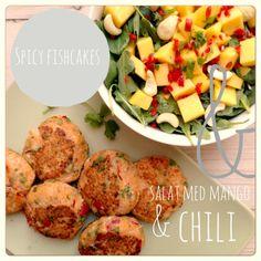 Spicy fishcakes & salat med mango, chili og cashewnødder