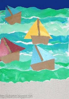 Torn paper sailboats