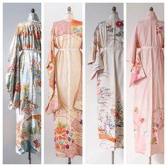 Vintage kimonos in the shop. shopgossamer.com #vintage #lounge #kimono #prints