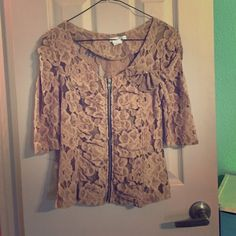 NWOT 3/4 Agaci zip up lace top NWOT, never worn, given as a gift! Cute nude color with bow and black zipper! Looks good with black tank underneath size medium a'gaci Tops