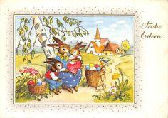 AK Frohe Ostern Mama Hase mit Kinder Hasen Korb mit Ostereier Postkarte in Sammeln & Seltenes, Ansichtskarten, Motive | eBay