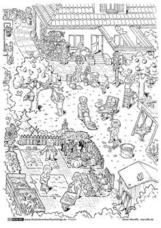 Download als PDF: Freizeit – Garten gartenarbeit Draußen Spielen Free Coloring Pages, Coloring For Kids, Adult Coloring, Coloring Books, Illustrator, Harry Potter Decor, School Clipart, Mom Birthday Gift, Colorful Pictures