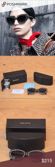 Prada Sunglasses Cat Eye Studded Dramatic Retro ITEM DESCRIPTION: Unique hard to find 50's style dramatic cat eye retro sun glasses, black lenses, unique front and side studs. Genuine Prada Designer  CONDITION.... VERY GOOD~ Like New Previously worn, but no visible flaws (see photos) Prada Accessories Sunglasses