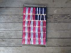 Patriotic decorating doesn& have to be a big ordeal. This American Clothes Pin Flag is a simple and easy way to decorate your home for our country& holidays. July Crafts, Easter Crafts, Halloween Crafts, Holiday Crafts, Holiday Ideas, Craft Tutorials, Craft Ideas, Project Ideas, Craft Projects