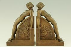 Art Deco bookends with nudes.