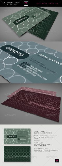 Clean Business Card Template 01 by miim - Business Card Template in 2 sizes x 2 and 55 mm x 85 mm) - Fully layered & customizable . Minimal Business Card, Cleaning Business Cards, Print Templates, Flyer Template, Designs To Draw, Card Card, Free, Identity, Fonts
