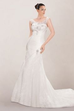 Beautiful Illusion Neckline A-line Wedding Dress Featuring Shimmered Beaded Motif and Cutout Back