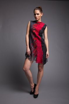 42e6f31726d0 Favoloso abito grigio seta lana merino chiffon rosso a
