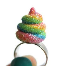 Unicorn Poo Adjustable Ring Polymer Clay by StarfallsAtDusk Unicorn Jewelry, Play Clay, Diy Rings, Clay Figures, Polymer Clay Projects, Clay Charms, Diy For Kids, Diy Jewelry, Adjustable Ring