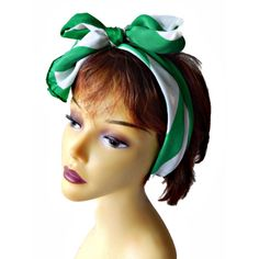 Silk Scarf Signed Bill Blass Green and White Stripe ($24) ❤ liked on Polyvore featuring accessories and scarves