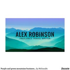 Purple and green mountains business card