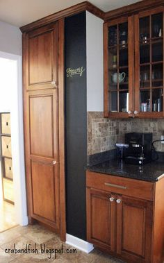 Chalkboard wall in the kitchen | crab+fish