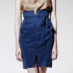 High Waist Skirt Blue