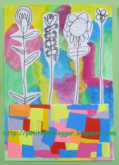 the drawings stand out against any color renditions we can come up with. Tapas, Spring Art, Spring Crafts, Kindergarten Art, Preschool, Drawing Stand, Flower Crafts, Watercolor Flowers, Art For Kids