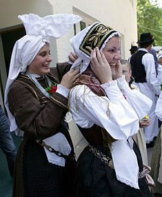 Upper Carniola Slovenia  Female traditional costume with the typical hat, called avba.