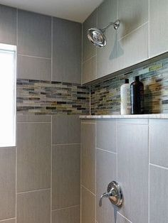 Love the in-set shelf for a shower